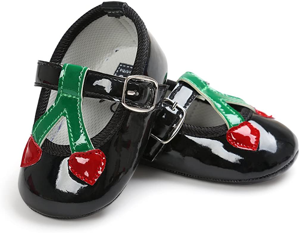 Neband Baby Girls Synthetic Leather Soft Sole Round Toe Chestnut Fruit Mary Jane Shoes