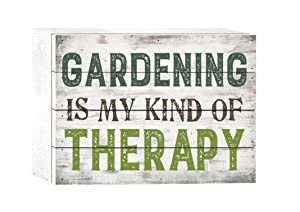 P. GRAHAM DUNN Gardening is My Kind of Therapy Whitewash 8 x 6 Solid Wood Boxed Pallet Plaque Sign