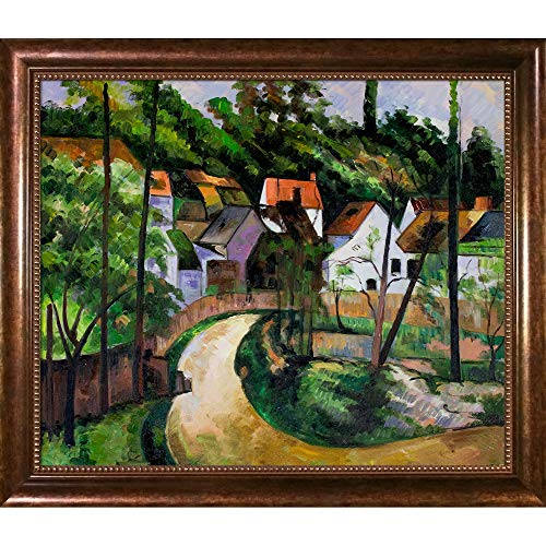 (overstockArt Turn in The Road with Verona Cafe Framed Oil Painting, 28