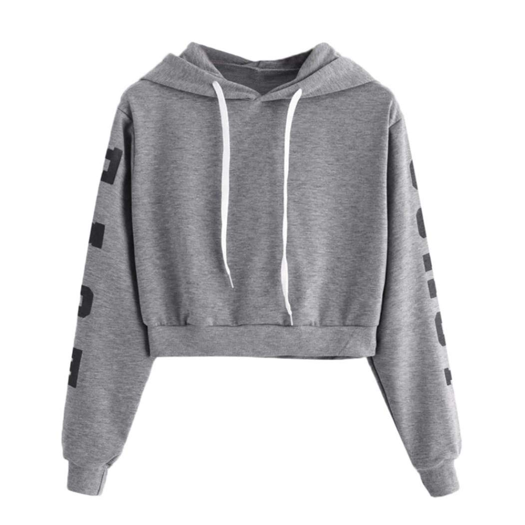 HARRYSTORE Womens Ladies Girls Hoodie Crop Tops Letter Print Long Sleeve Hooded Sweatshirt Cropped Sweat Tops Pullover Jumpers