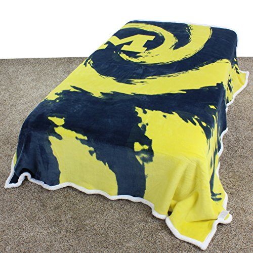 """College Covers Super Soft Sherpa Blanket, 63"""" x 86"""", Michigan Wolverines from College Covers"""