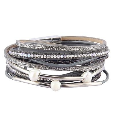 6c0eeb7c04c AZORA Leather Wrap Bracelet for Women Multi Rope Cuff Bracelets with Pearl  & Rhinestone Handmade Charm