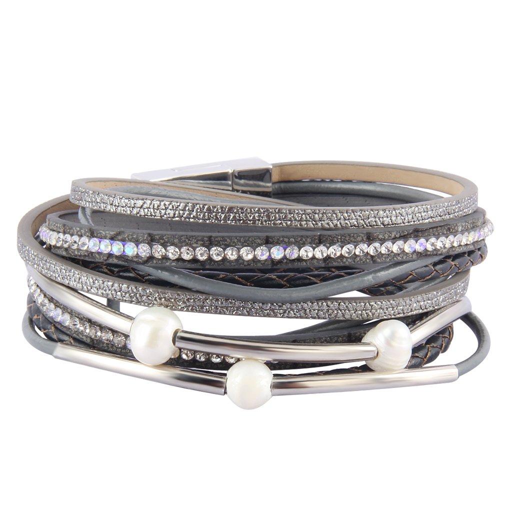 Jenia Women Leather Wrap Bracelet Hand Woven Rope Bracelet Pearl and Rhinestone Cuff Bracelet Bohemian Jewelry for Mother, Wife, Teens Girls Birthday Gifts by Jenia