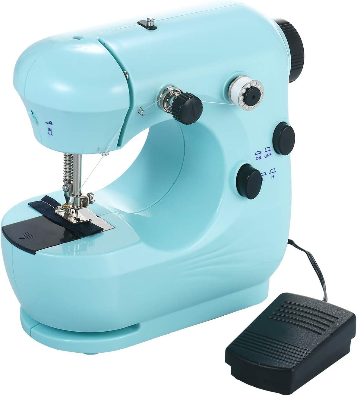 KKmoon Máquina de Coser,Mini Máquina de Coser Portátilil,Máquina de Coser Doméstica,Ajustable de 2 Velocidades con Mesa de Costura
