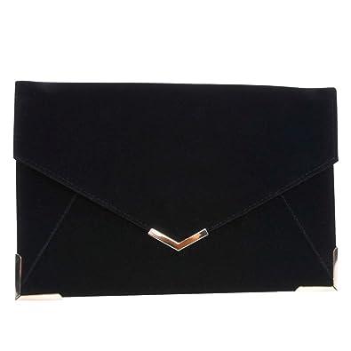 Velvet Envelope Clutch Large Evening Bag Women Bag Metal-Trim ...