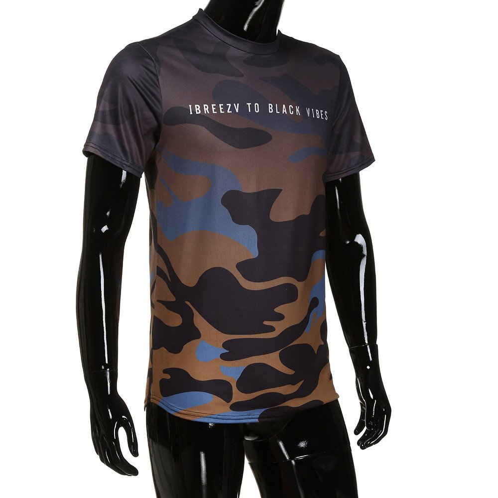YANG-YI 2019 Fashion Men Personality Camouflage Casual Slim Short-Sleeved Shirt Top Blouse
