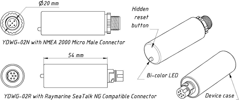 Yacht Devices Puerta de Enlace Wi-Fi YDWG-02 para NMEA 2000 o Seatalk NG (NMEA 2000 Micro Male): Amazon.es: Deportes y aire libre