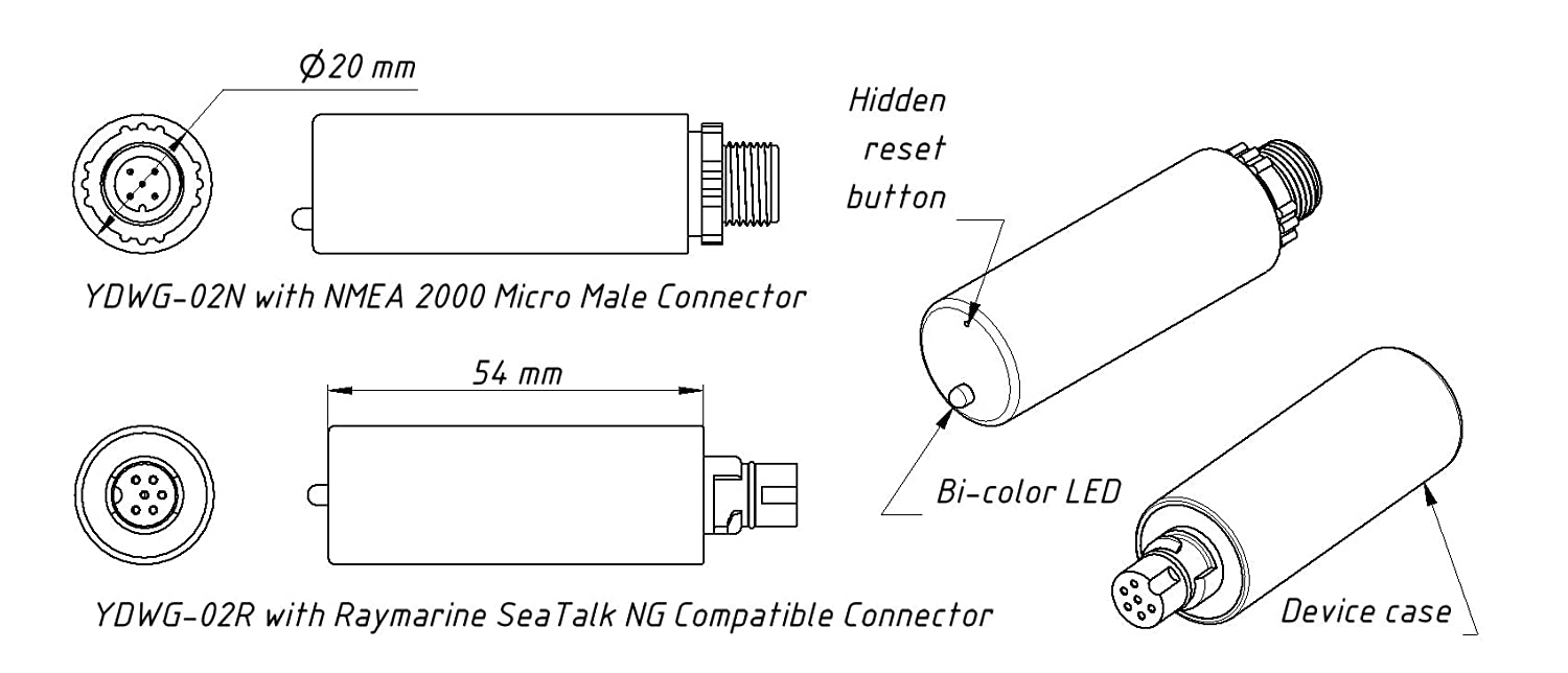 Yacht Devices Nmea 2000 Devicenet Wi Fi Boat Gateway Raymarine 0183 Cable Wiring Diagram Ydwg 02 Micro Male Connector Sports Outdoors