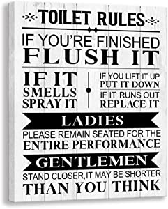 Kas Home Bathroom Canvas Wall Art Rustic Funny Toilet Rules Prints Signs Framed Wood Background Bath Room HD Picture Artwork Home Decor (Toilet-02, 12 X 15 inch)