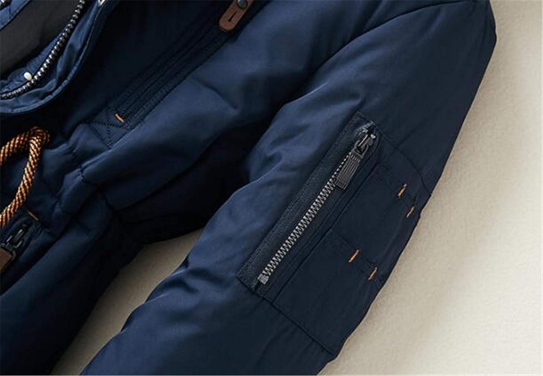 Frieed Men Winter Hooded Multi Pockets Linen Fleece Warm Thicken Drawstring Outwear