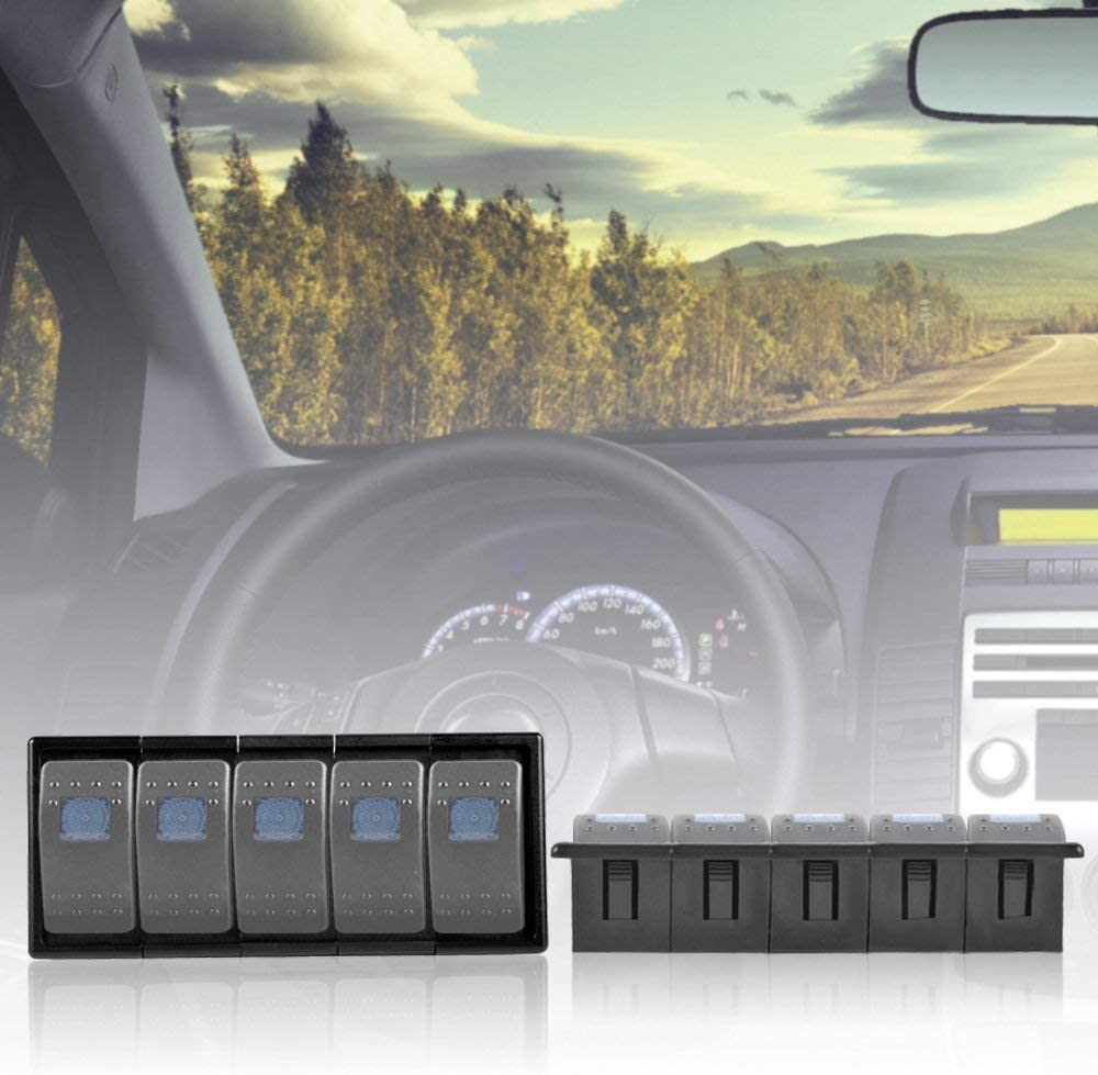 Black Plastic AutoEC Rocker Switch Panel Switch Holder Housing Kit