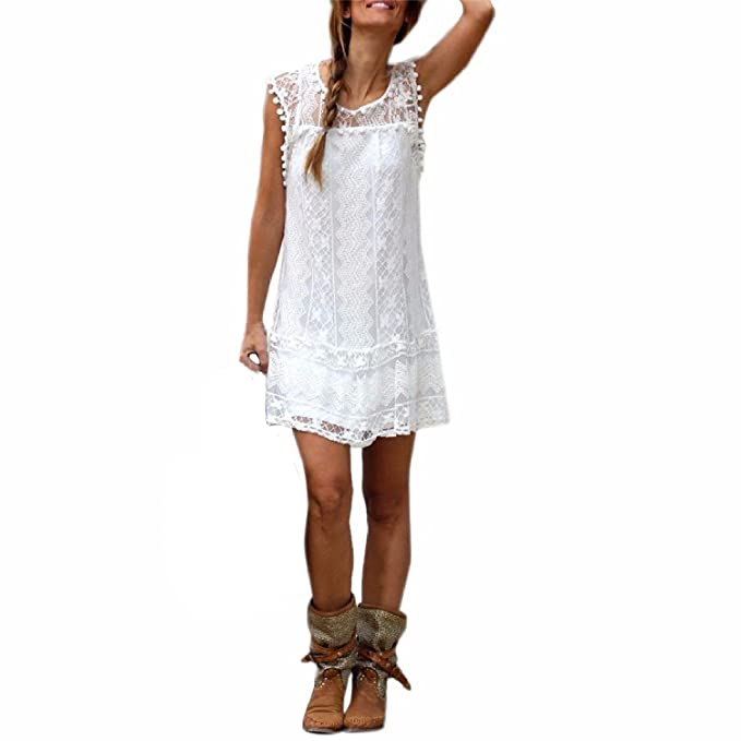 b9d01aa149f1 Lannister Fashion Donna Vestiti Senza Maniche Abito Cerimonia Elegante  Estivo Corti Vintage in Pizzo Bianco Palla