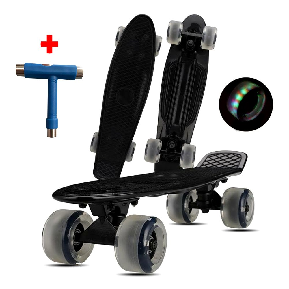 Loadshine 22' Complete Mini Cruiser Skateboard with Colorful LED Light Up Wheels for Kids/Beginner / Cruising, Ready to Ride Out of The Box