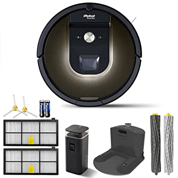 iRobot Robot Roomba 980 Vacuum Cleaning Robot + 1 Dual Mode Virtual Wall Barriers (With Batteries) +...