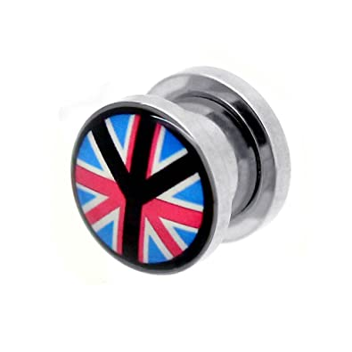 1x o Set Kit Túnel Dilataciones Acero inoxidable Pendientes Piercing Expansor Stretcher UK United Kingdom Peace, modelo:10 mm Tunnel: Amazon.es: Joyería