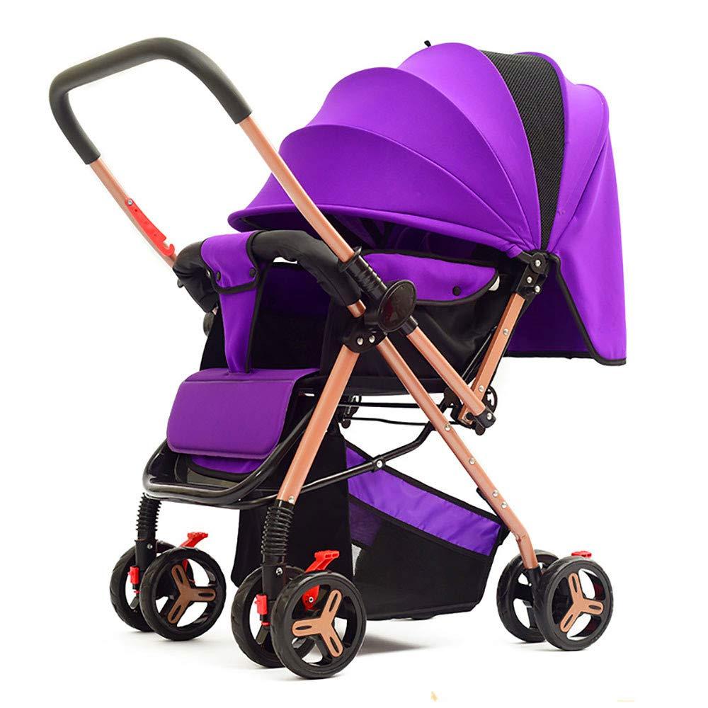 ベビートロリー、折り畳み式および軽量、パラソルの双方向ベビーカーで、リクライニングに座ることができます  Purple B07NVKDYY5