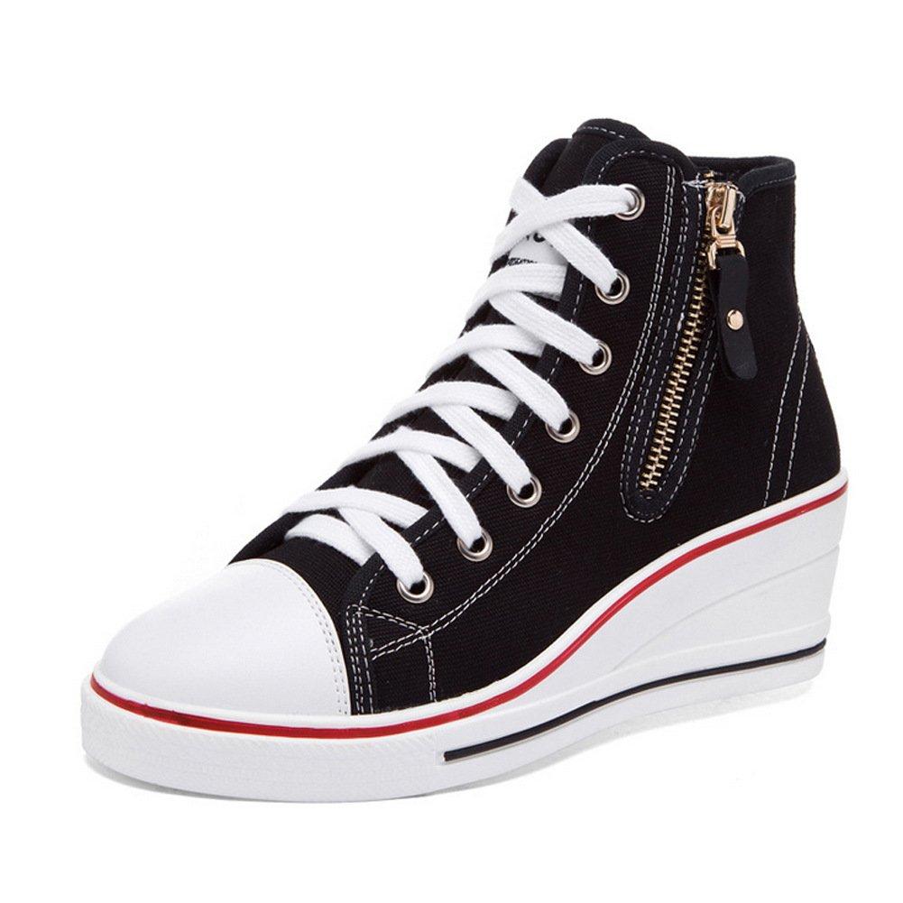 PP FASHION Formal Wedges Hidden Heel Western Style Women' Casual Canvas Sneakers (Black 6)