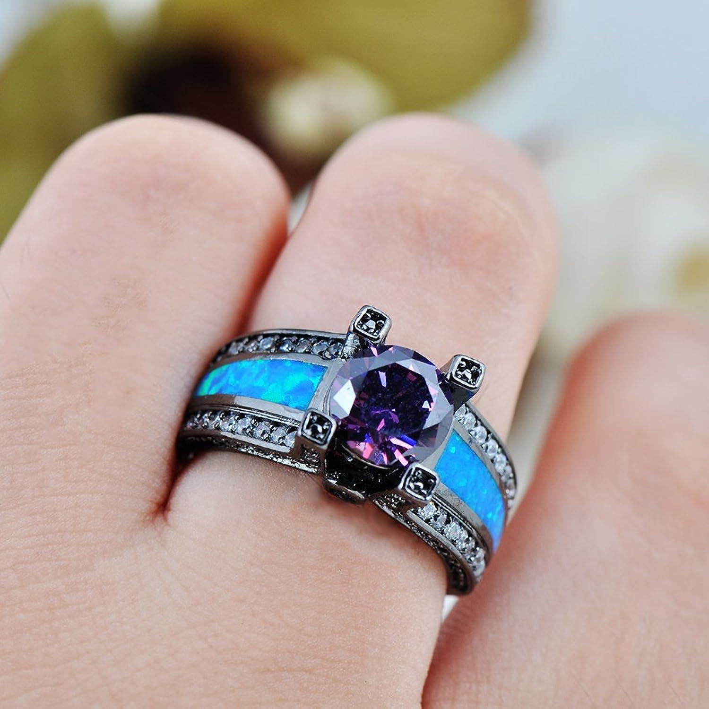 Amazoncom Rongxing Jewelry Opal Rings Womens Purple Amethyst