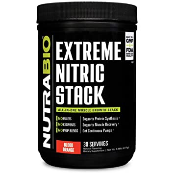 NutraBio Extreme Nitric Stack (Blood Orange) - Nitric Oxide and Cell Volumizing Formula