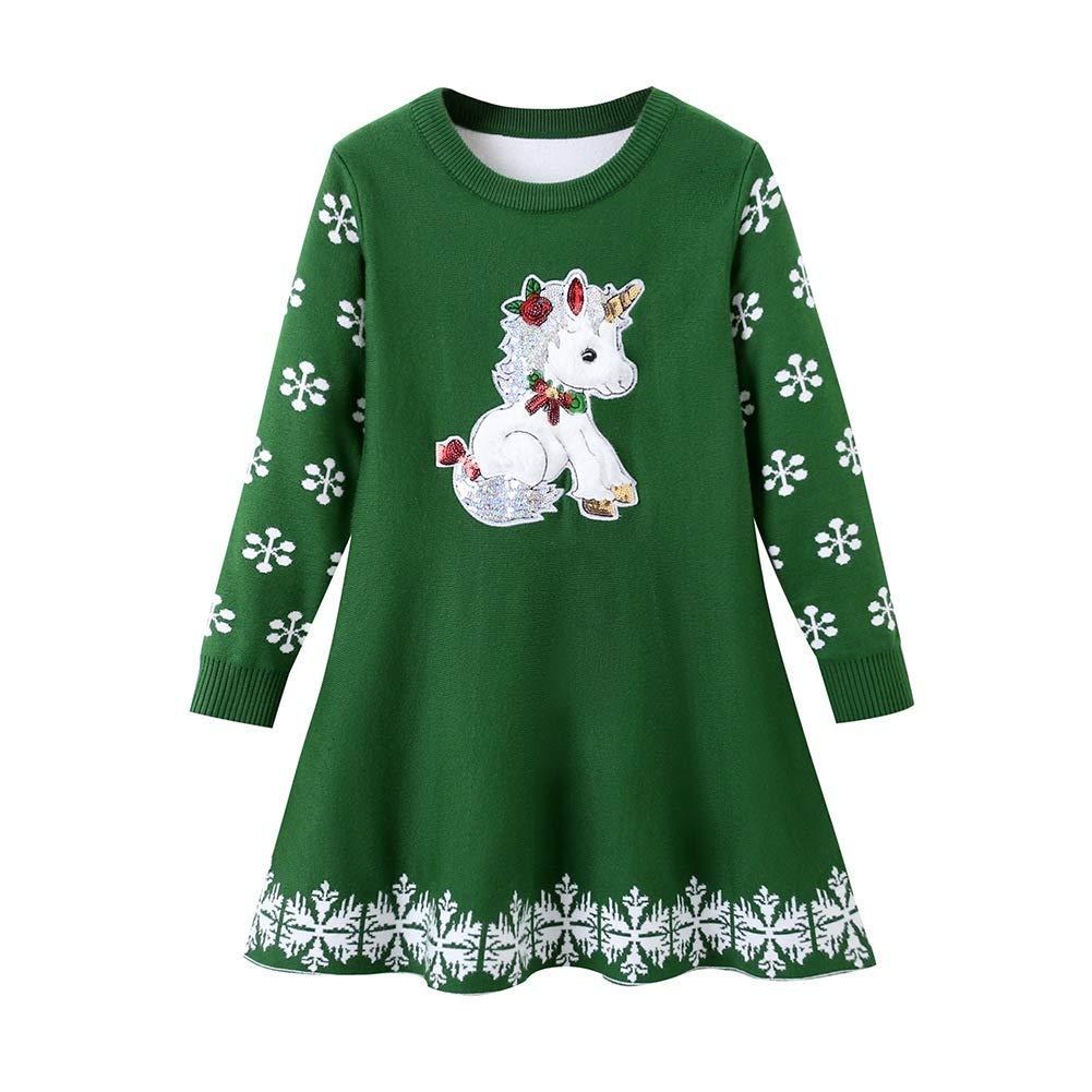 SMILING PINKER Girls Christmas Knit Sweater Dress Unicorn Snowflake Xmas Gifts Winter