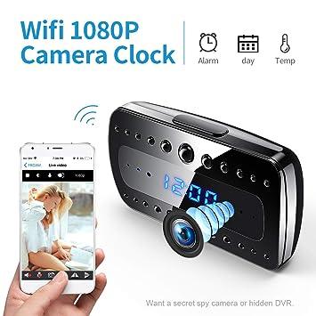 Cámara espía FREDI, 1080P HD WiFi Cámara Oculta Despertador Mini cámara espía, Cámaras de vigilancia Seguridad domésticas inalámbricas Alarma/Visión ...