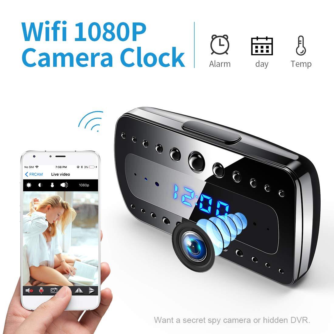 Cámara espía FREDI, 1080P HD WiFi Cámara Oculta Despertador Mini cámara espía, Cámaras de vigilancia Seguridad domésticas inalámbricas Alarma/Visión Nocturna/Detección de Movimiento product image