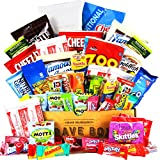 CraveBox - Deluxe Care Package Snack Box - Gift Basket Variety Pack with Bars, Chips, Candy and Cookies - Sweet and Salty Treats for Lunches, College Students and Office Parties (50 Count)