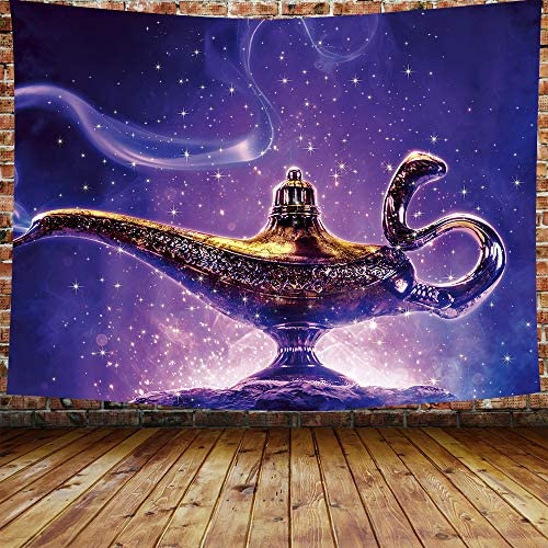DBLLF Aladdin s Lamp Tapestry Aladdin Genie Magic Lamp Desert Sand Hanging Tapestries Wall Hanging Decor for Bedroom Livingroom Dorm 80 60 Inches DBZY0289GM
