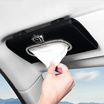 eing Fashion Crown Crystal Car Tissue Box Sun Visor Leather Auto Napkin Tissue Hanging Bag Holder for Car Accessories,Pink