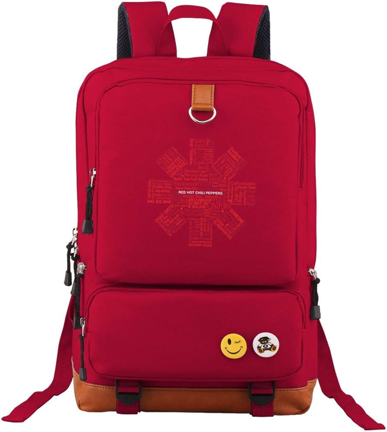 Red Unisex Red Hot Chili Peppers Backpack Vintage Laptop Backpack Anti-Theft Water Resistant Bag Casual Work Backpack