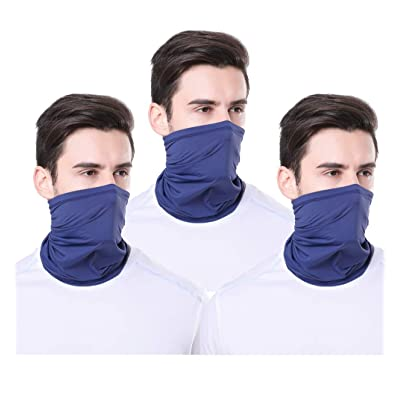 TEUME Neck Gaiter Sun UV Protection Summer Face Mask Breathable Balaclava Scarf for Hiking Fishing Cycling (3 Pack-Navy): Automotive