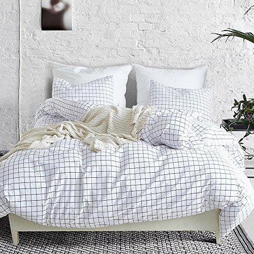 (CLOTHKNOW Grid Duvet Cover Sets Queen/Full White Black Bedding Sets for Boys Checkered 100 Cotton Set of 3-1 Duvet Cover Zipper Closure 2 Envelope Pillow Shams Standard NO Comforter)