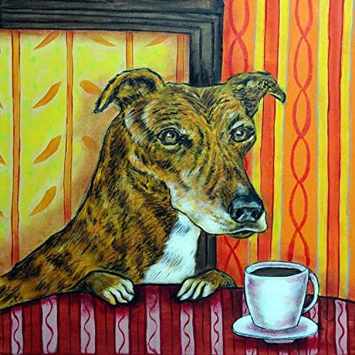 Greyhound at the Coffee Shop dog art tile coaster gift