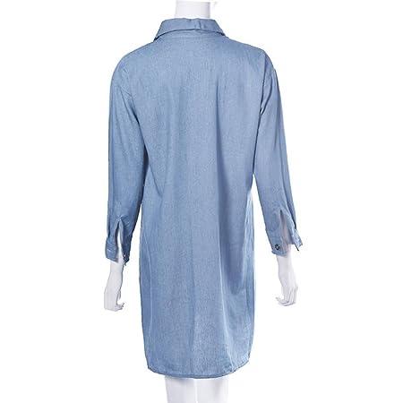 bb6e5e3a762 Janly® Dress Plus Size Women s Denim Shirt Dress Girls Summer Pockets Long  Sleeves Dresses  Amazon.co.uk  Sports   Outdoors