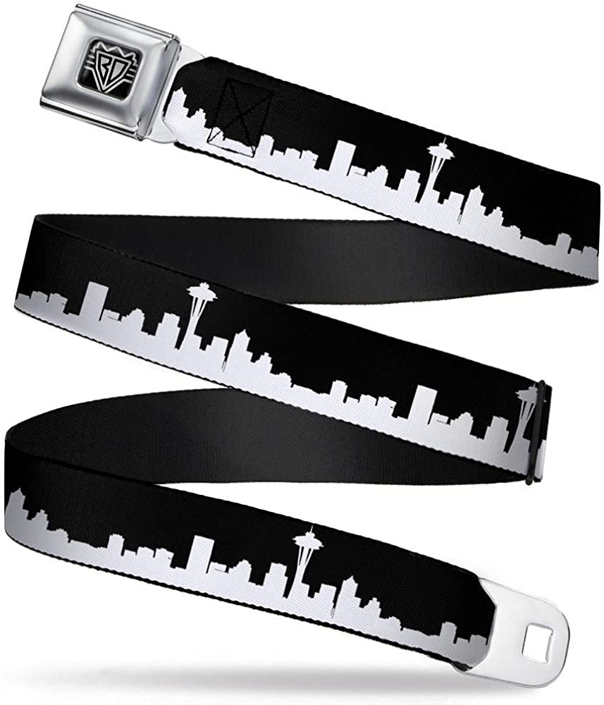 20-36 Inches in Length 1.0 Wide Seattle Solid Skyline Black//White Buckle-Down Seatbelt Belt