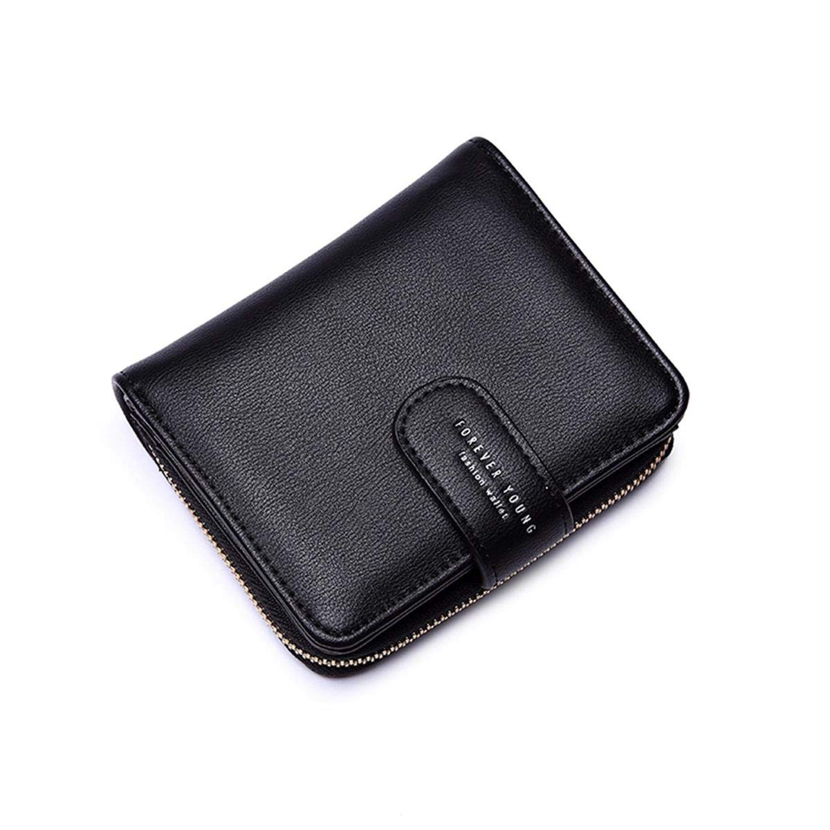 Wallets for Women, Women Small Wallet Lady Short Wallet Bifold Leather Multi-purpose Wallet with ID Window (A-Black)