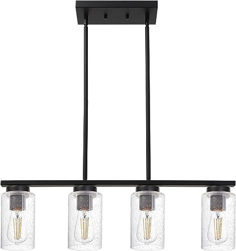 TODOLUZ 4-Light Black Kitchen Pendant Light Fixture