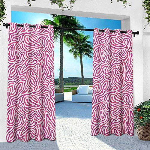 (leinuoyi Pink Zebra, Outdoor Curtain Pole, Curved Wild Wavy Line Stripe Formless Funky Groovy Boho Tribal Culture, for Balcony W96 x L108 Inch Fuchsia Pink White)