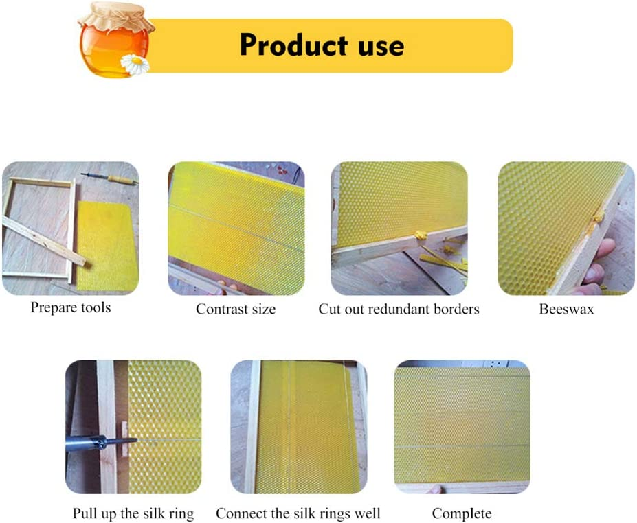 Mrinb Beeswax Honeycomb Base Sheet Beehive Nest Foundation Beekeeping Tool for Beekeepers