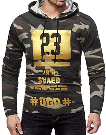 e45ddfb44955 Fensajomon Mens Casual Camo Print Fashion Long Sleeve Letter Printing Pullover  Hoodie Sweatshirt at Amazon Men s Clothing store