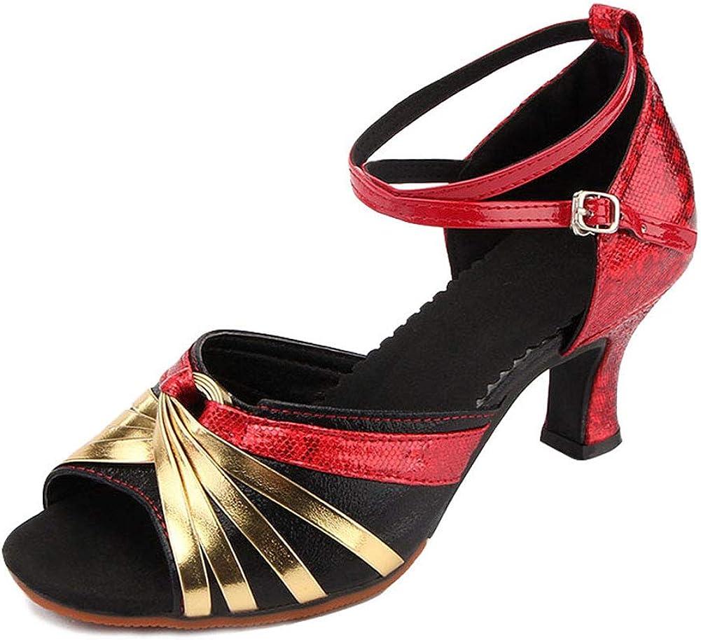 SXSHUN Mujeres Zapatos Antideslizantes de Baile Latino Zapatos con Tac/ón de 5.5 CM Zapatos de Danza al Aire Libre