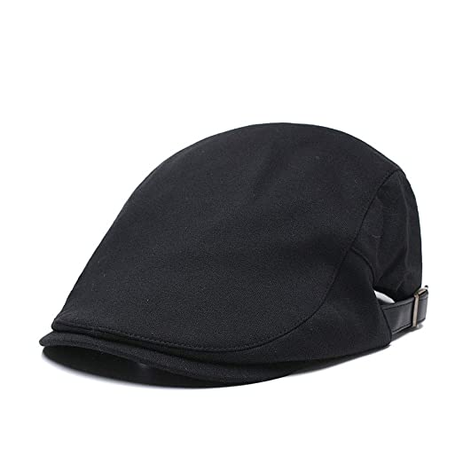 Quanhaigou Men s Cotton Flat Ivy Gatsby Newsboy Driving Cap Classic Cabbie  Irish Berets Hat Black 96ae503bf0f7