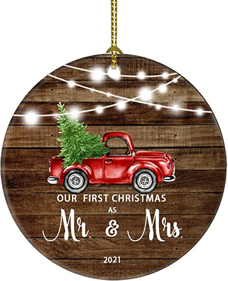 First Christmas Married Ornament 2021 Amazon Com 2021 Our First Christmas As Mr Mrs Just Married Truck Tree Ornament Gift For Newlywed Couple 2021 Our First Christmas As Mr And Mrs Kitchen Dining