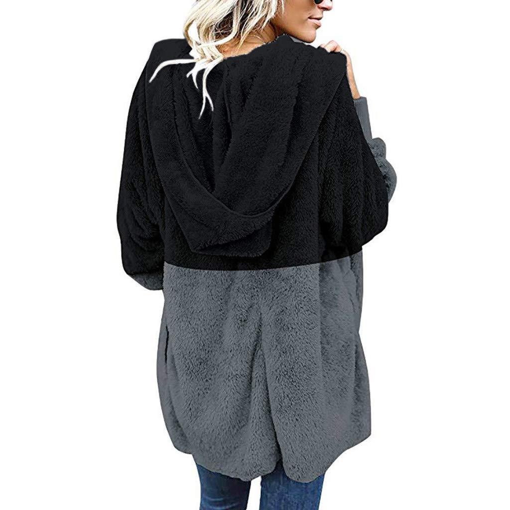 Covermason Femme Manteaux et Blousons Hiver Chaud Veste à Capuche Fausse Fourrure Long Cardigan Grande Taille Blouson Gilet Outercoat Chaud Jacket Sweat-Shirts Tops 02-noir