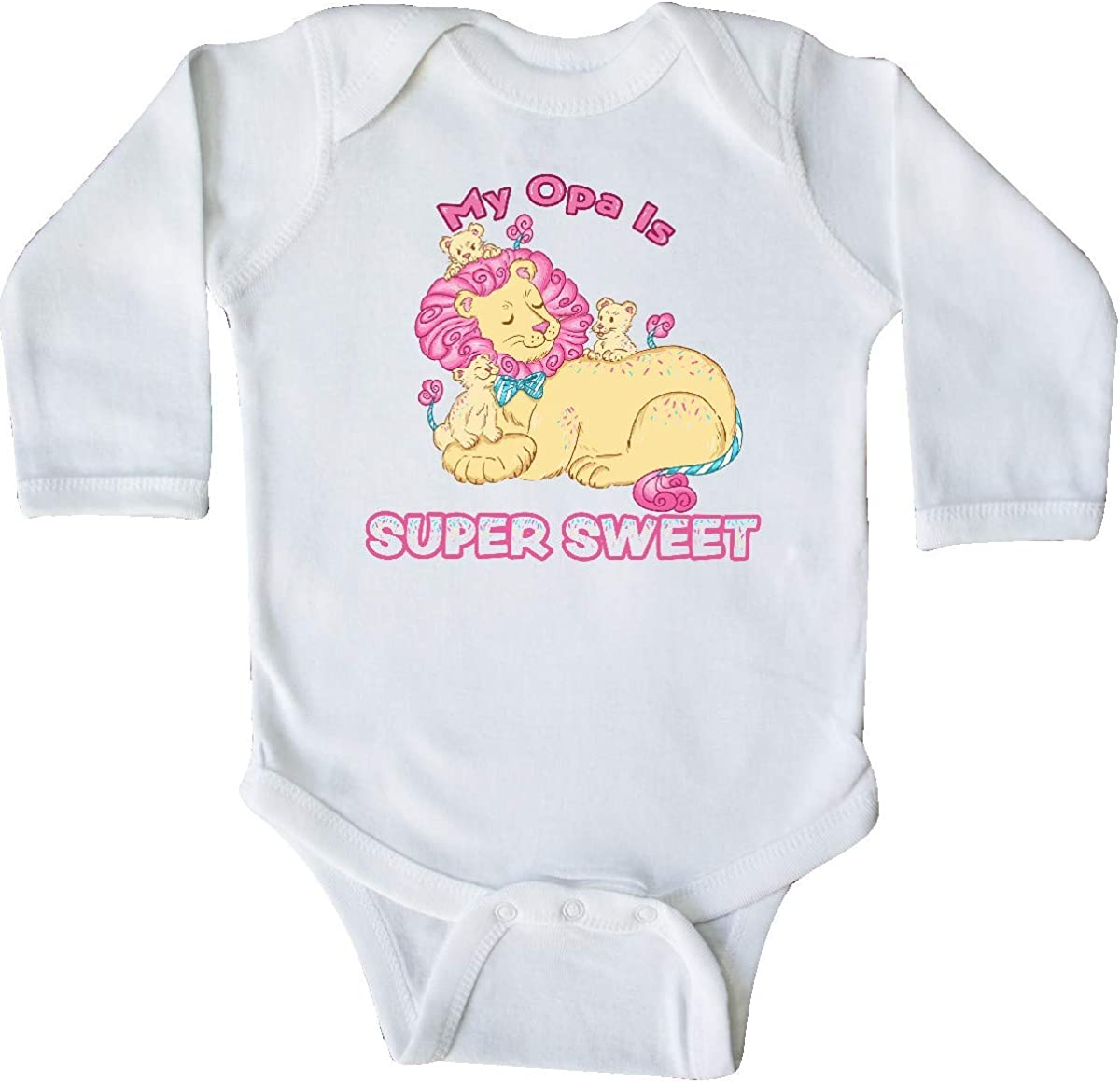 inktastic My Opa is Super Sweet Cotton Candy Lions with Pink Long Sleeve Creeper