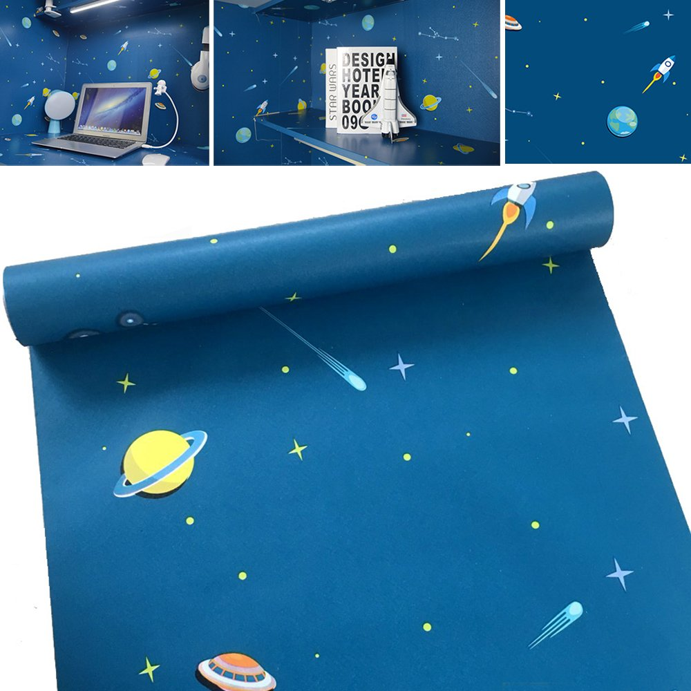 SimpleLife4U Funny Universe Decorative Contact Paper Removable Shelf Drawer Liner for Boys Girls Bedroom 17x118 Inch