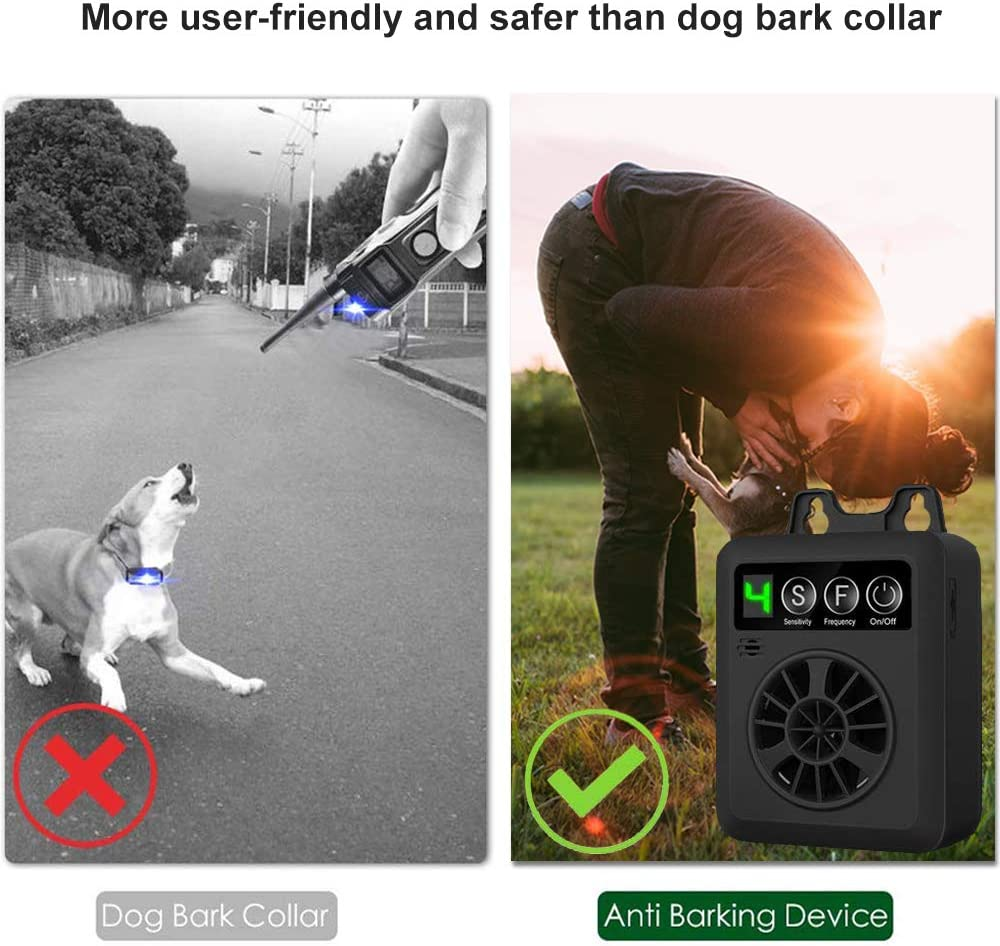 Upgraded Sonic Bark Deterrents Silencer Stop Barking Bark Stop Repeller Innotic Bark Control Device USB Charging Sensitivity Adjustable Anti Barking Deterrent Ultrasonic Dog Bark Control