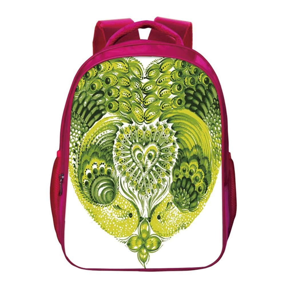 Boho Lightweight School Bag,Heart Shaped Peacock Feathers Paradise Animal with Clover Flower Zen Print for Kids Girls,11.8''Lx6.3''Wx15.7''H by YOLIYANA