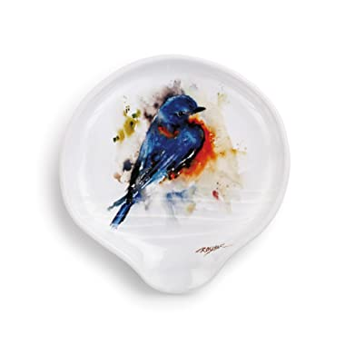 DEMDACO Dean Crouser Bluebird Watercolor 5 x 5 Glossy Ceramic Stoneware Spoon Rest