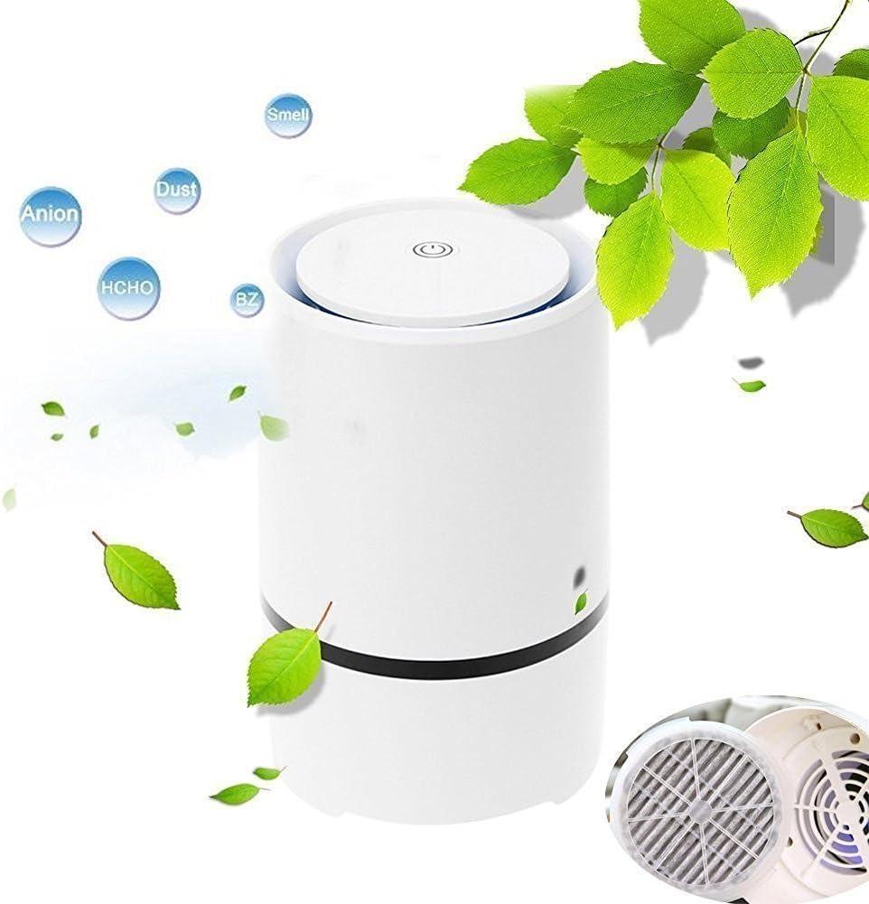 Ionizador Purificador Aire con la Tecnología Verdadera del Filtro de Aire de HEPA - Limpiador y Purificador Portables del Aire para el Uso en Dormitorio, Oficina, Coche, Cocina, Cuarto de baño